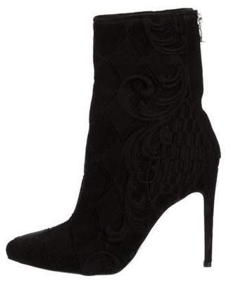 Balmain Woven Pointed-Toe Boots Black Woven Pointed-Toe Boots
