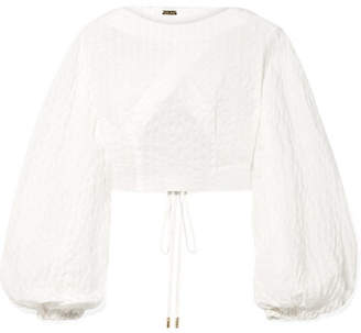 Cult Gaia Sophia Cropped Seersucker Top - White