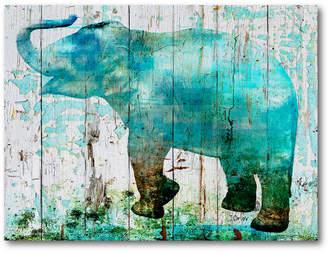Courtside Market Wall Decor Boho Blue Elephant Gallery-Wrapped Canvas Wall Art
