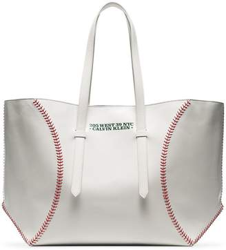 Calvin Klein white catch baseball glass leather tote