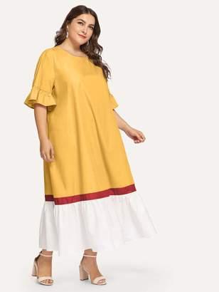 Shein Plus Cut-and-sew Flounce Trim Dress