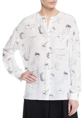 Co Long-Sleeve Face-Print Collarless Silk Tunic Blouse