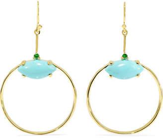 Ippolita Marquise Baby 18-karat Gold Turquoise And Tsavorite Earrings