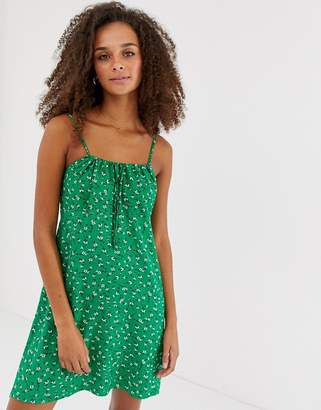 New Look tie gather front dress in green