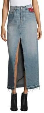 Tommy Hilfiger Collection Patchwork Denim Maxi Skirt