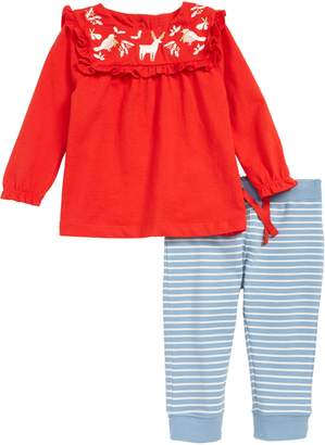 Boden Mini Embroidered Top & Print Leggings Set