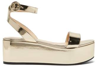 Prada Platform Metallic Leather Sandals - Womens - Gold