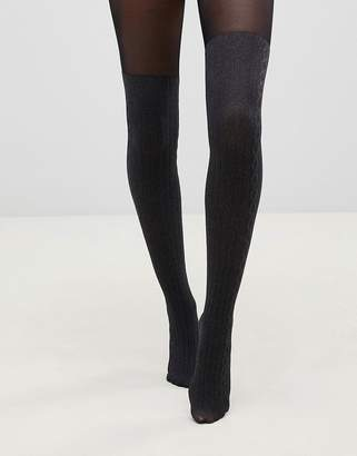 Pretty Polly over the knee secret cable sock tights in marl