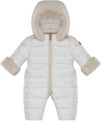 Moncler Ardisie Quilted Puffer Bunting w/ Faux Fur Trim, Size 6-24 Months