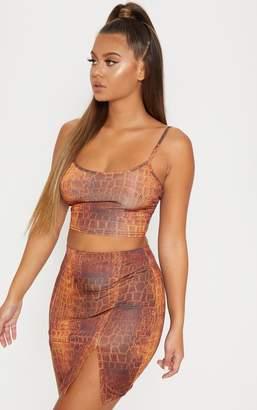 PrettyLittleThing Monochrome Slinky Snake Print Double Split Mini Skirt