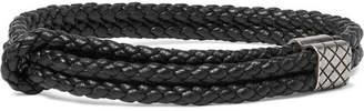 Bottega Veneta Intrecciato Leather and Oxidised Silver Bracelet - Men - Black