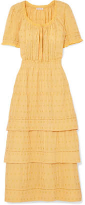 LoveShackFancy Heather Tiered Embroidered Cotton Midi Dress - Yellow