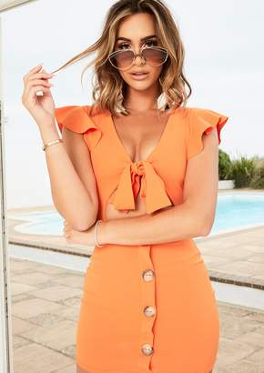 Missy Empire Missyempire Addie Orange Tie Button Dress