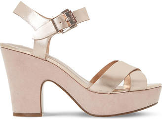 Dune Iyla metallic leather platform sandals