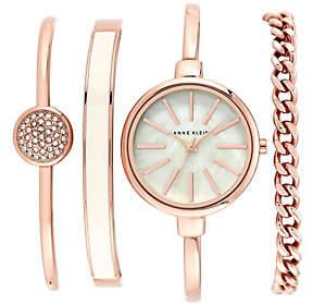 Anne Klein Women's Rosetone Bangle Watch and Bracelet Set