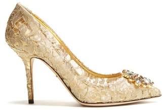 Dolce & Gabbana - Belluci Crystal Embellished Lace Pumps - Womens - Gold
