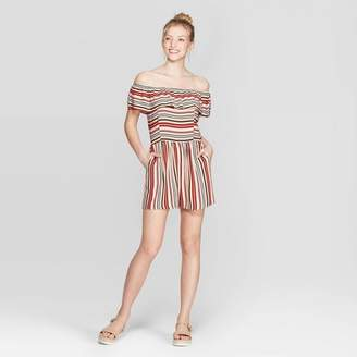 Xhilaration Women's Striped Short Sleeve Off the Shoulder Flounce Top Romper Khaki
