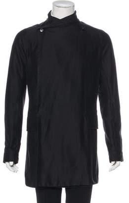 Rick Owens Silk-Blend Asymmetrical Coat