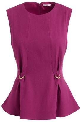 Wolf & Badger Fokine Purple Sleeveless Wool Blend Peplum Top