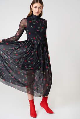 Na Kd Trend Mesh LS Midi Dress Black/Blue Pattern