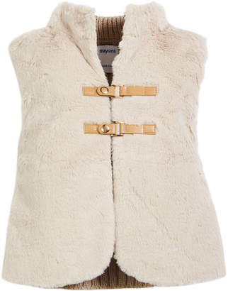 Mayoral Faux-Fur Vest w/ Cable-Knit Sweater Back, Size 3-7