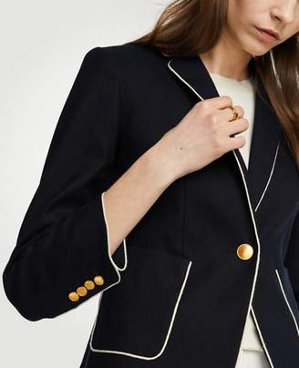 Ann Taylor Petite Piped Linen Blend Blazer