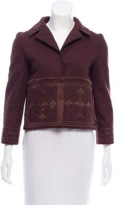 Alberta Ferretti Cropped Satin-Trimmed Jacket