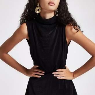River Island Womens Black sleeveless roll neck top