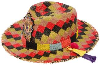 Etro Checked Straw Hat W/ Beaded Hatband