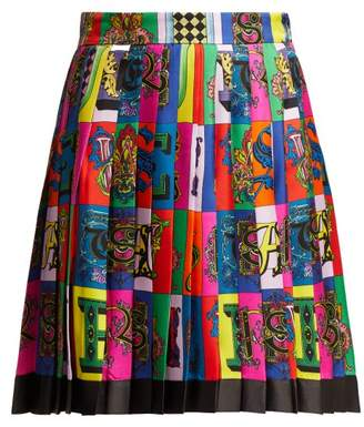 Versace Alphabet Print Pleated Silk Twill Skirt - Womens - Multi