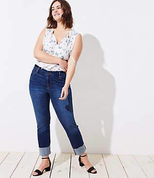 LOFT Plus Frayed Cuff Straight Leg Jeans in Pure Dark Indigo Wash