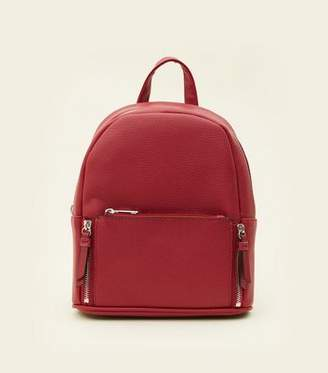 New Look Dark Red Zip Top Curved Mini Backpack