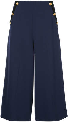 Lanvin embossed button cropped trousers
