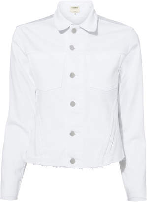 L'Agence Janelle Cropped White Denim Jacket