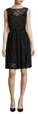 Ellen Tracy Sleeveless Plaid Belted Fit-and-Flare Dress