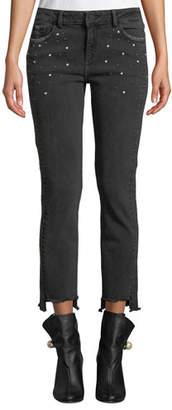 DL1961 Premium Denim Mara Studded Step-Hem Ankle Skinny Jeans