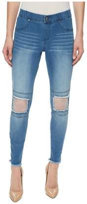 Hue Fishnet Knee Patch Denim Skimmer Women's Casual Pants