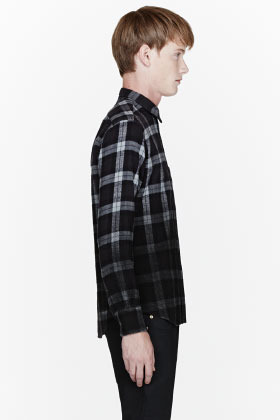 Public School Black flannel degraded plaid shirt