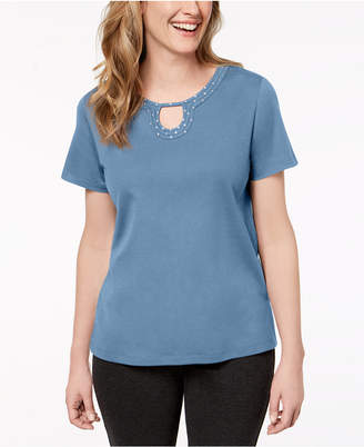 Alfred Dunner Petite Embellished Horseshoe-Neck Top