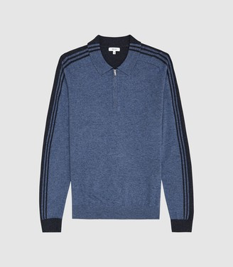 2d0dc42f5 Reiss Silverthorn - Long Sleeved Zip Neck Polo Shirt in Airforce Blue