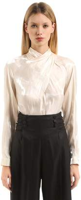 Marco De Vincenzo Draped Satin Blouse