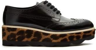 Prada Leopard calf-hair and leather flatform brogues
