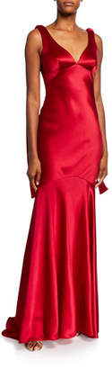 Theia V-Neck Sleeveless Drop Waist Satin Gown