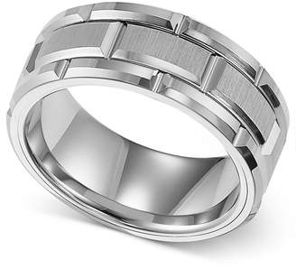Triton Men Ring, 8mm White Tungsten Wedding Band