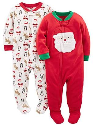 Carter's Simple Joys by Baby Toddler 2-Pack Holiday Loose Fit Flame Resistant Fleece Footed Pajamas