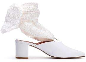 Mother of Pearl Amber Leather And Broderie Anglaise Mules