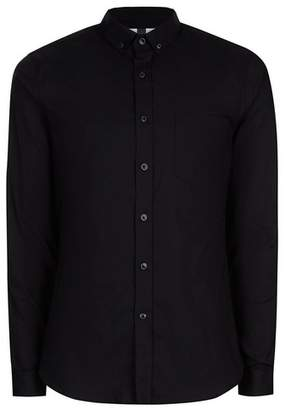 Topman Mens Black Muscle Fit Oxford Long Sleeve Shirt