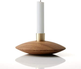 Piece Of Denmark Wood and Brass Candlestick