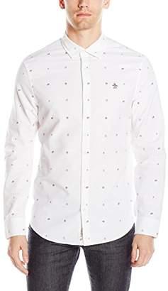 Original Penguin Men's Long Sleeve Nautical Theme Printed Oxford Shirt