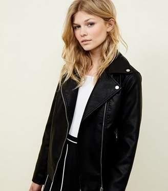 New Look Petite Black Leather-Look Biker Jacket